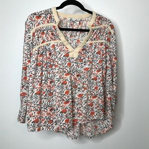 Lucky Brand Top Size XL Floral 3/4 Sleeves